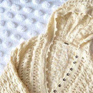 Free People Cream Chunky Knit Oversized Sweater